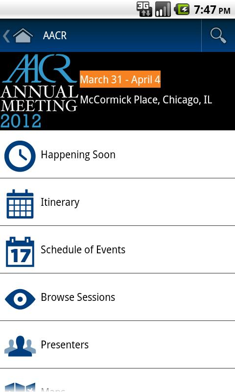 2012 AACR Annual Meeting App - screenshot