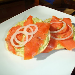 Bagels With Avocado and Smoked Salmon.