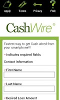 Screenshot of Cashwire Payday Loans
