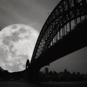 The Supermoon on Sydney Bridge by Monique Sjarief - Digital Art Places