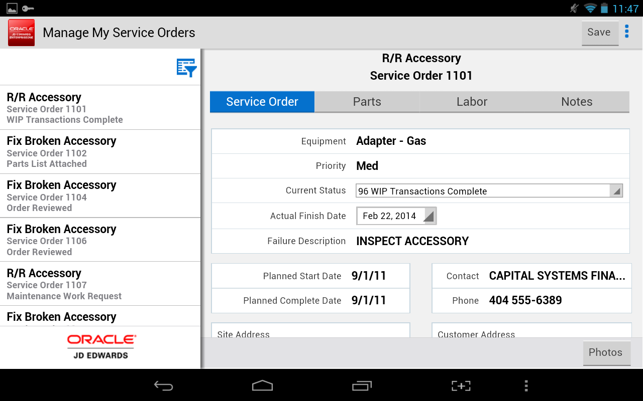 My Service Orders - JDE E1- screenshot