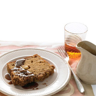Apple Quick Bread with Oatmeal-Walnut Crumble and Caramel Sauce.