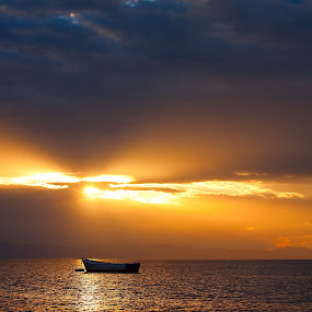Sunset with boat by Marthinus Strydom - Landscapes Waterscapes ( water, sunset, boat )