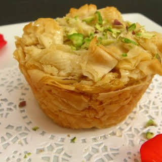 Heavenly Kanafe.... A Syrian Dessert made with Ricotta & Shredded Filo Dough.