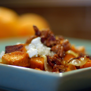 Cider Glazed-Sweet Potatoes with Bacon, Pecans and Blue Cheese.