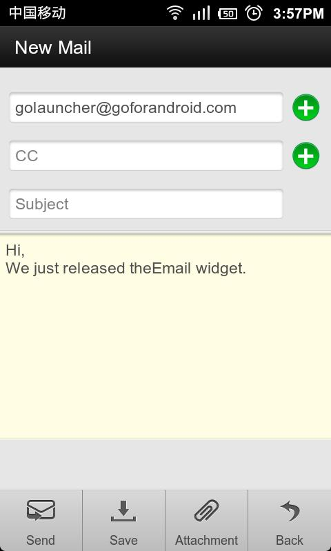 GO Email Widget - screenshot