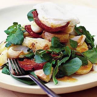 Salad Of Smoked Haddock With Chorizo And Poached Egg.
