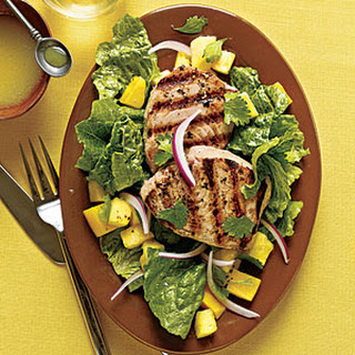 Grilled Yellowfin Tuna with Romaine and Tropical Fruit.