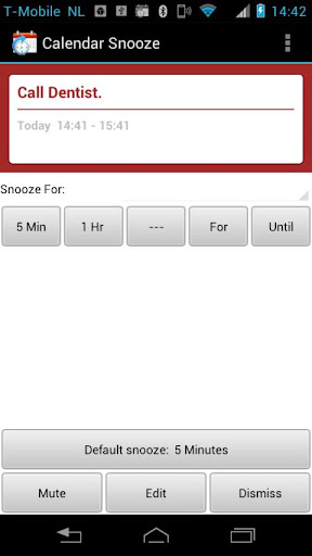 Calendar SnoozeKey