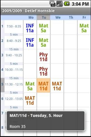 Schedule - screenshot