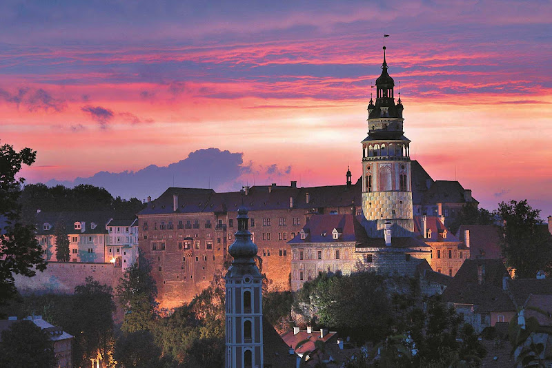The beautiful medieval city and castle of Cesky Krumlov in the south of the Czech Republic. Inland excursions to Cesky Krumlov are offered from the ports of Passau, Germany, and Linz, Austria.