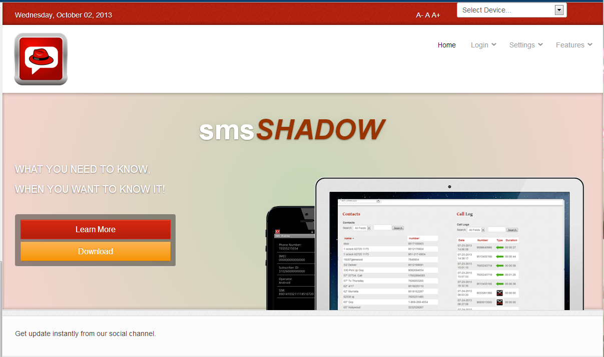 SMS Shadow - screenshot