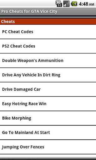 Unoffical Cheats:GTA Vice City