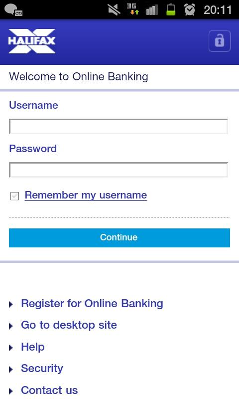 Halifax Mobile Banking app - screenshot