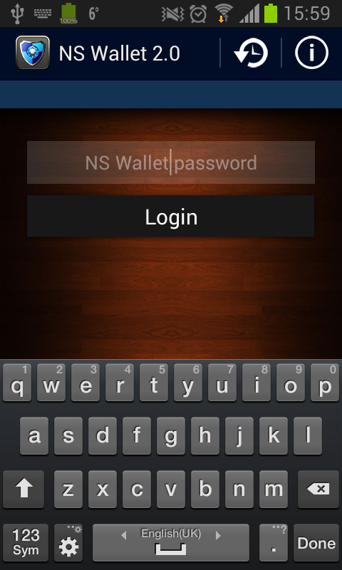 NS Wallet Password Manager App - screenshot