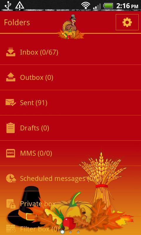 GO SMS Pro Thanksgiving theme - screenshot