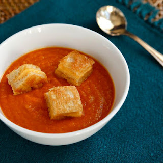 Tomato Soup with Grilled Cheese Crouton Bites