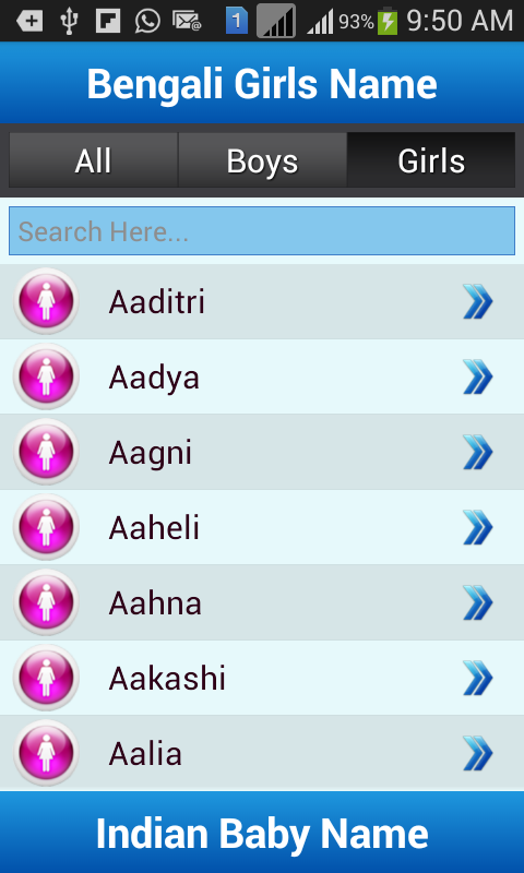 Indian Baby Names And Meaning Screenshot