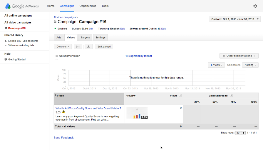 Adwords For Video-The videos tab