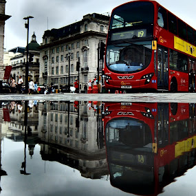 Bus in Piccadilly Circus, London by Steve Cooke - Transportation Other (  )