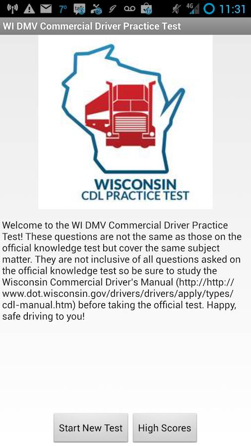 WI DMV CDL Practice Test- screenshot