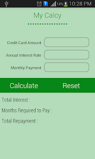 interest rate on credit cards calculator