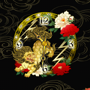 Golden ChineseLion clockWidget