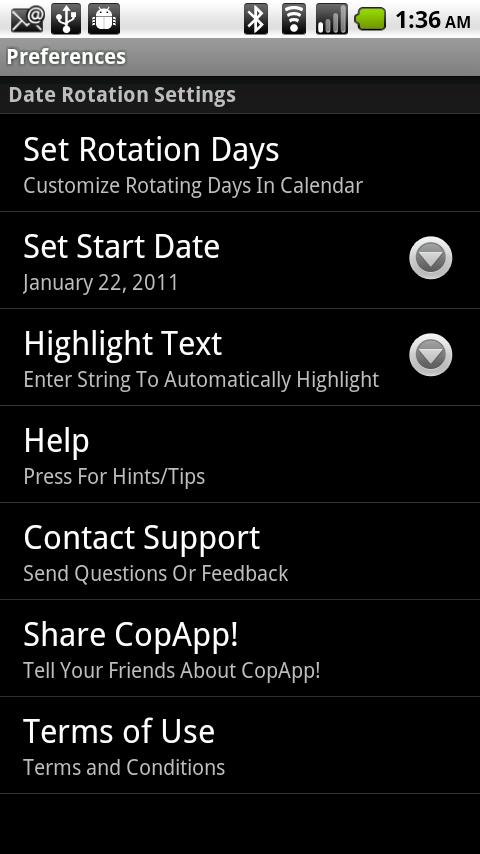 CopApp ! Calendar Schedule - screenshot