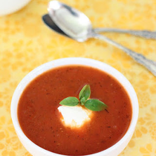 Tomato Soup with Ricotta Cheese and Basil