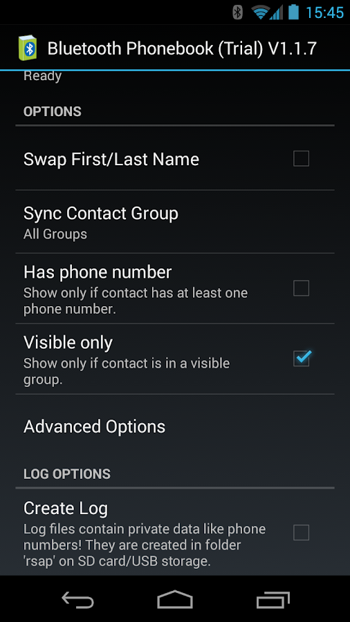 Bluetooth Phonebook (Trial) – Screenshot