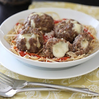 Mozzarella Stuffed Homemade Meatballs.