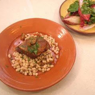 Pork Belly With White Beans, Quince And Garlic Toast
