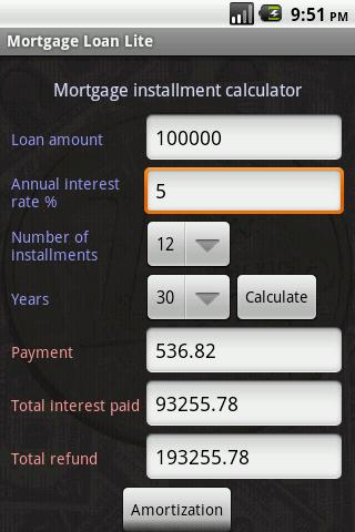 Mortgage Loan Lite- screenshot