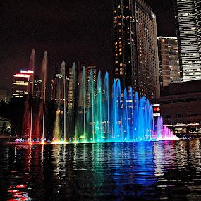 KLCC Colour Fountain by Omrin Kamarudin - City,  Street & Park  Fountains