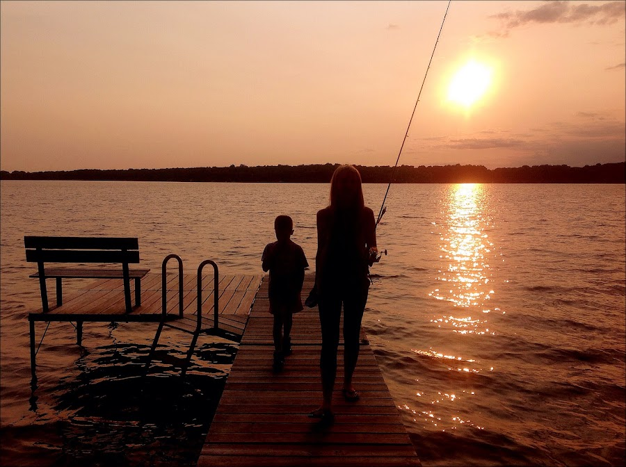 by Lori Taylor - Instagram & Mobile iPhone ( water, family, sunset, lake, fishing, people, dock )