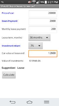 car lease vs buying calculator