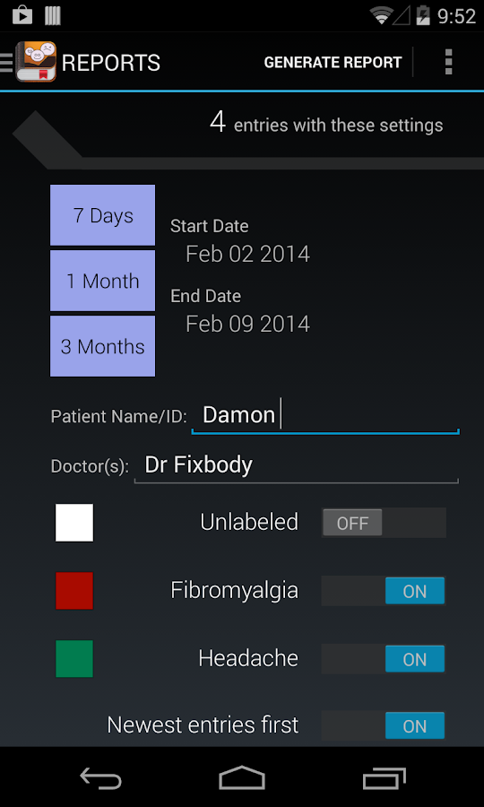 My Pain Diary- screenshot