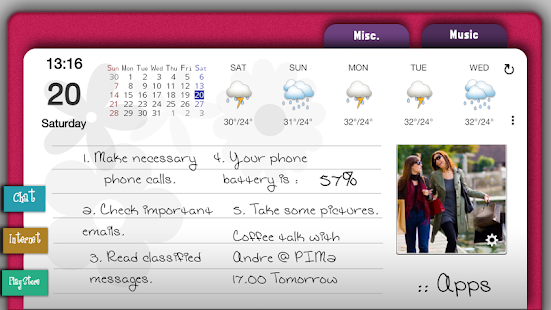 Pink Agenda for ssLauncher OR - screenshot thumbnail