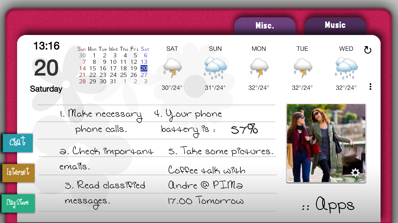 Pink Agenda for ssLauncher OR - screenshot