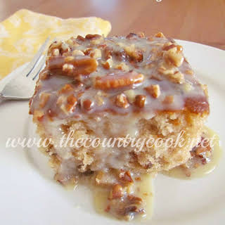 Southern Pecan Praline Cake with Butter Sauce.