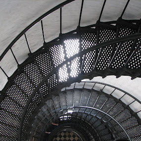 Lighthouse stairs by Judy Dean - Buildings & Architecture Architectural Detail ( stairs, staircase, lighthouse, white, spiral, black,  )