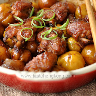 Braised Chinese Chestnuts Chicken in Cast Iron Dish