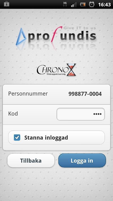Chronox Tidrapportering- screenshot