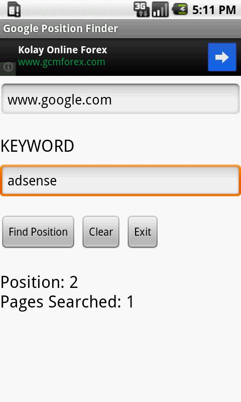 Google Position Finder - screenshot