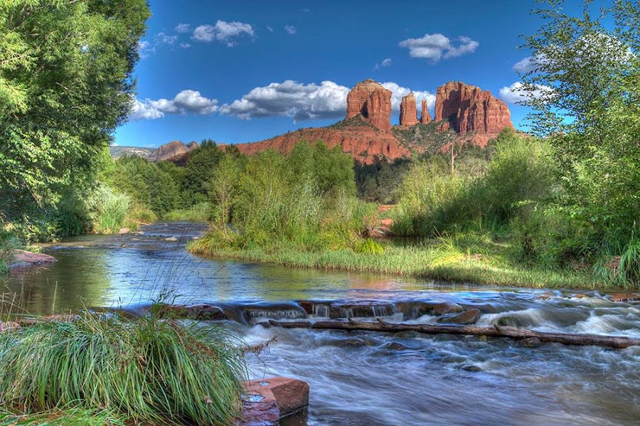 Drove to Cresent Moon Ranch in Sedona, AZ yesterday afternoon and went to Oak Creek to shoot a picture of Cathedral Rock. by Roger Stumbo - Landscapes Cloud Formations