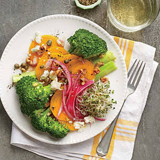 Broccoli, Beet, and Pickled Onion Salad.