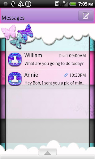 GO SMS THEME ButterflyGlitz1