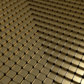 Gold 3d background by Dalibor Zivotic - Illustration Abstract & Patterns ( multitude, series, graphic, concept, reflection, glossy, density, range, direction, set, illustration, shining, organize, object, geometric, organization, infinitely, composition, diagonal, gold, black, abstract, element, art, organized, shape, row, render, 3d, background, square, cube, group, reflect, design )