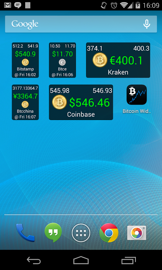 Bitcoin Ticker Widget- screenshot