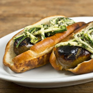 Merguez Dog With Zucchini-Mint Slaw